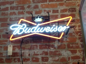 For our beer-budget decorators, a genuine BUD LIGHT :) $185 Andy's Antique, Booth E1