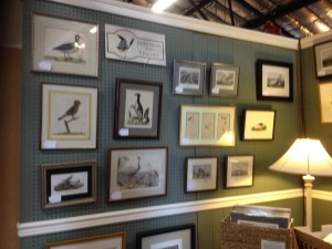 Audubon and Friends booth within Emporium Antiques. Fine vintage framed and unframed drawings. etchings, lithos, and prints mostly taken from nature. Booth AF