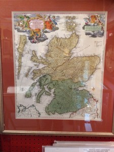 A beautiful and very detailed framed 18th century  map of Scotland as it was in the mid 18th century. The map includes the Orkney and Hebrides islands. In full original color, the maps title cartouche and distance scale depict the Royal Coat of Arm of both England and Scotland. $580 (on sale now for 20% off)