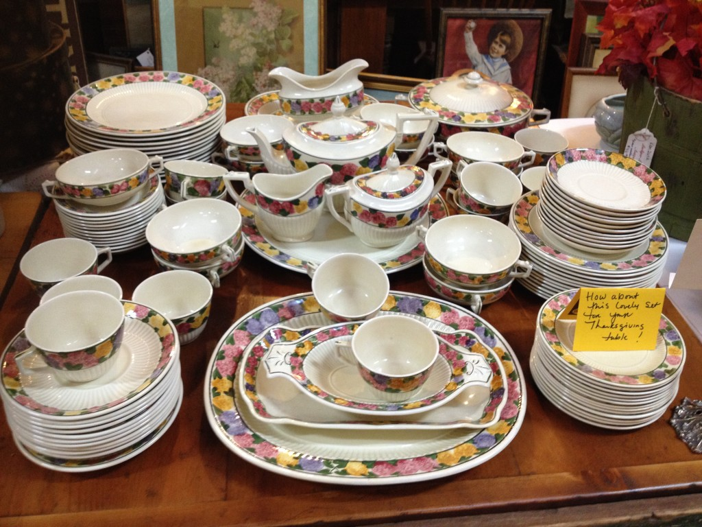 "Larkspur Antique offer this hand-painted Ridgway Bedford ""Tuberrose"". Includes all serving pieces only $125."