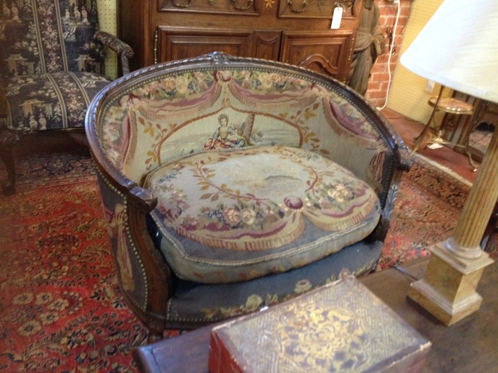 By Regence Holdings of Hagerstown, Maryland. A fine Louis XVI style needlepoint French settee, circa 1900. ($1250)